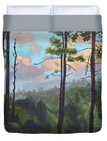 Duvet Cover featuring the painting Lifting My Soul At Pink Knob - In Elliay by Jan Dappen