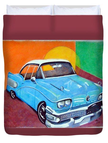 Light Blue 1950s Car  Duvet Cover