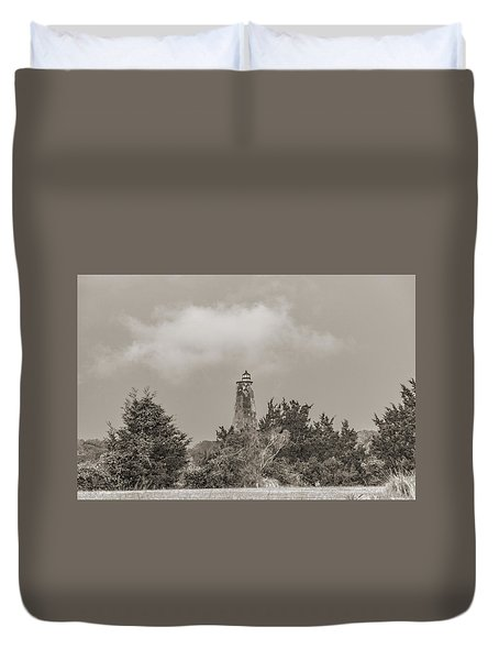 Light In The Distance Bald Head Island Lighthouse Duvet Cover