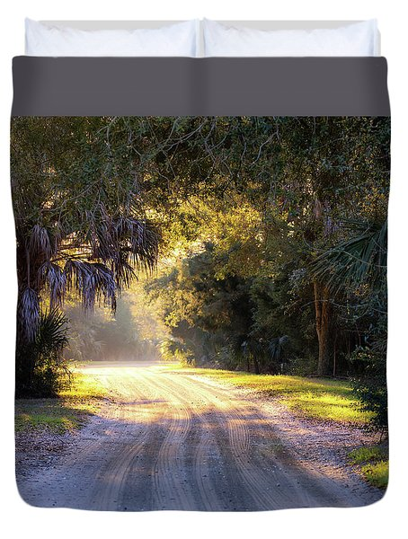 Light, Shadows And An Old Dirt Road Duvet Cover