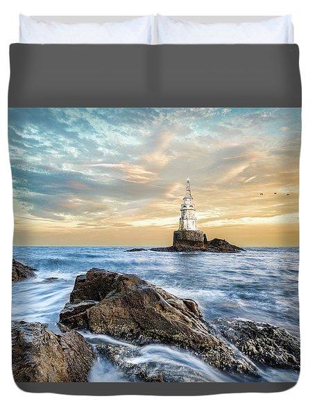 Lighthouse In Ahtopol, Bulgaria Duvet Cover