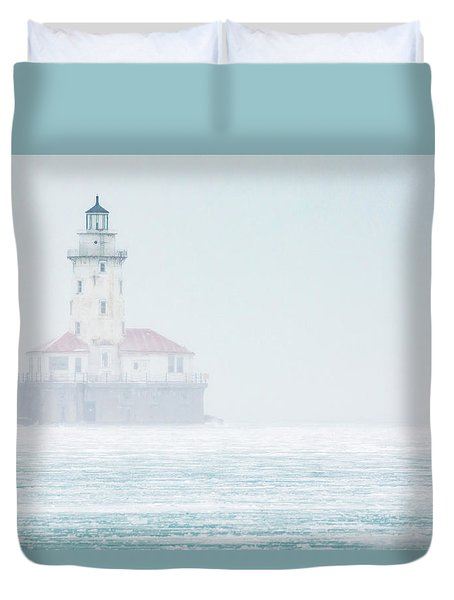 Lighthouse In The Mist Duvet Cover