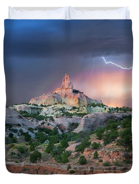 Lightning At Church Rock, Red Rock Duvet Cover