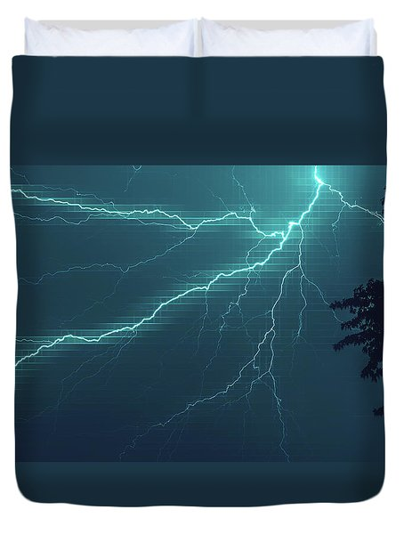 Lightning Grid Duvet Cover