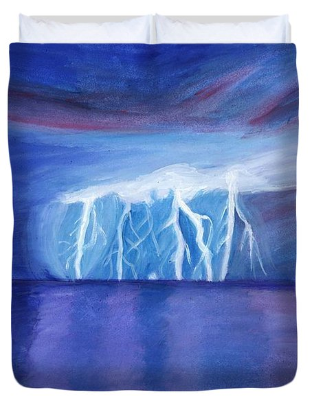 Lightning On The Sea At Night Duvet Cover