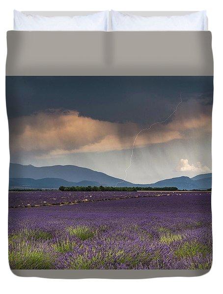 Lightning Over Lavender Field Duvet Cover