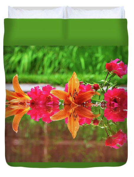 Lilies And Roses Reflection Duvet Cover