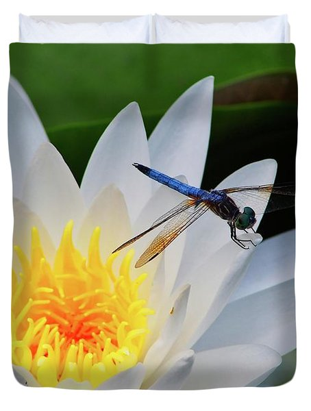 Lily And Dragonfly Duvet Cover