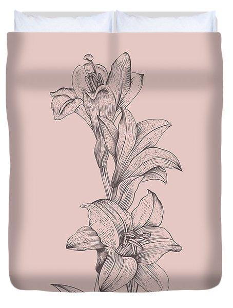 Lily Blush Pink  Flower Duvet Cover