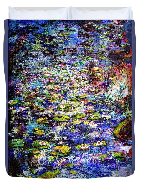 Lily  Pond Impressions Oil Painting Duvet Cover