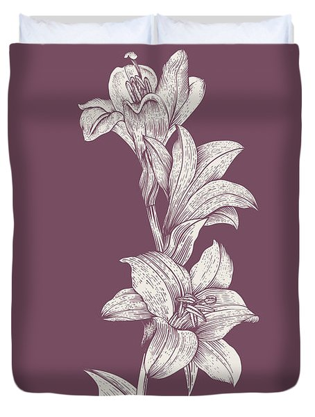 Lily Purple Flower Duvet Cover