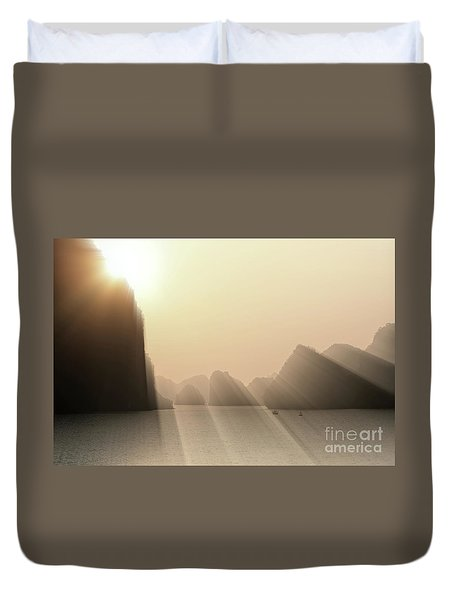 Limestone Sun Rays Ha Long Bay Vietnam Duvet Cover