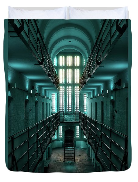 Duvet Cover featuring the digital art Lincoln Castle Prison In Blue by Scott Lyons