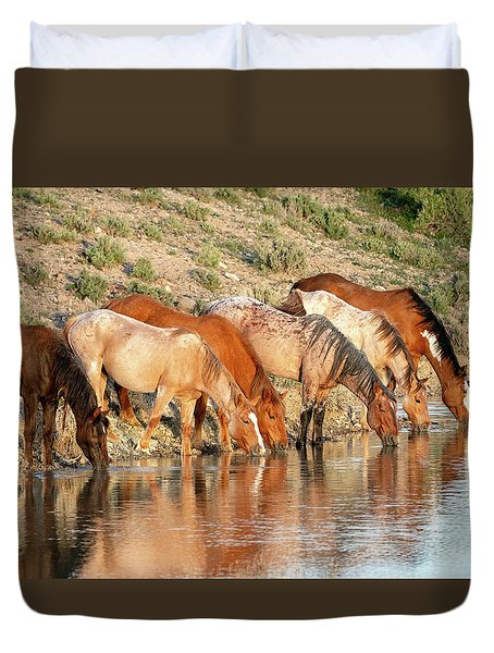 Lineup At The Pond-- Wild Horses Duvet Cover