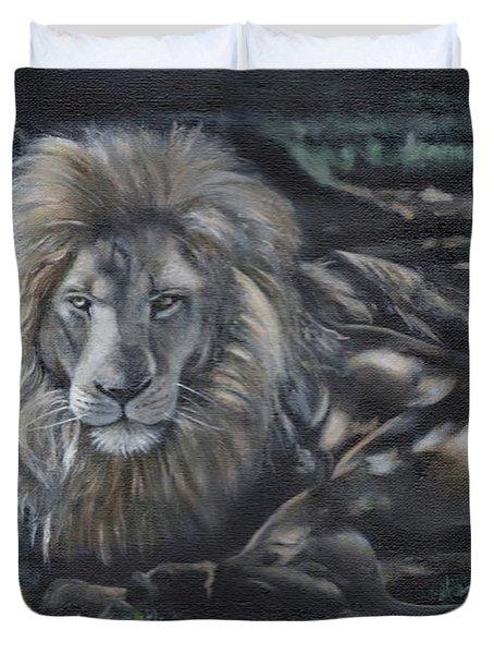 Lion In Dappled Shade Duvet Cover