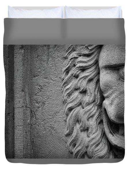 Duvet Cover featuring the photograph Lion Statue Portrait by Nathan Bush