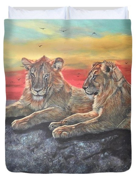 Lion Sunset Duvet Cover