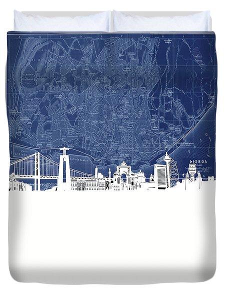 Lisbon Skyline Map Blue Duvet Cover