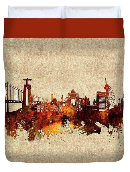 Lisbon Skyline Sepia Duvet Cover
