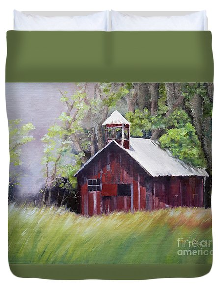 Duvet Cover featuring the painting Little Red Schoolhouse - Lyndhurst Plantation - Florida by Jan Dappen