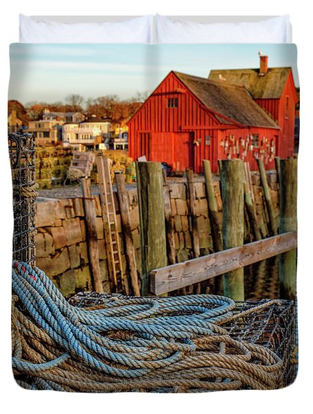 Lobster Traps And Line At Motif #1 Duvet Cover