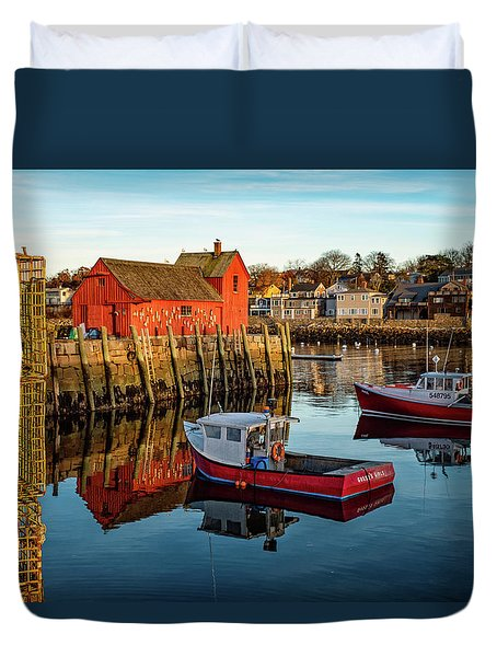 Lobster Traps, Lobster Boats, And Motif #1 Duvet Cover