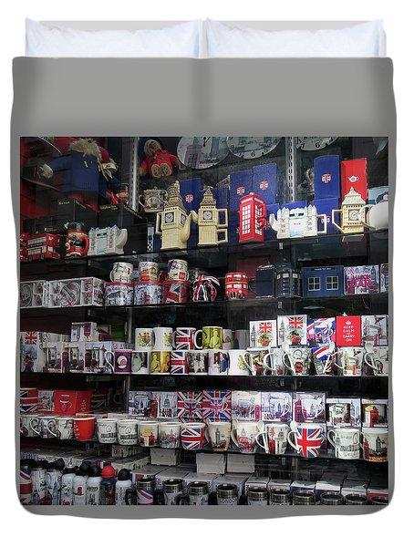 London England Shop Window Duvet Cover