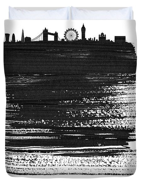 London Skyline Brush Stroke Black Duvet Cover