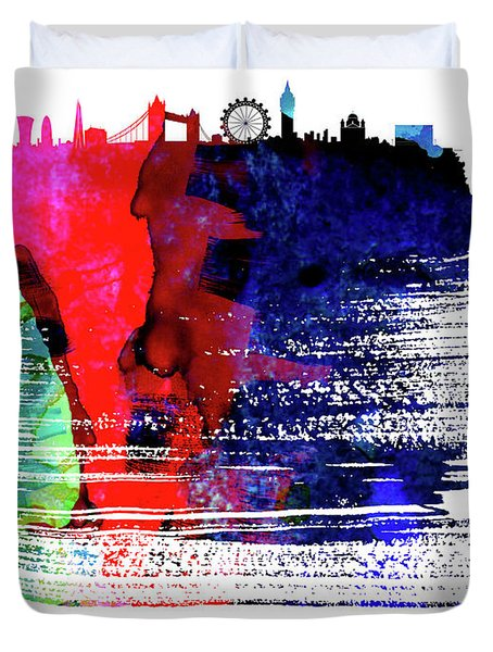 London Skyline Brush Stroke Watercolor   Duvet Cover