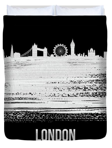 London Skyline Brush Stroke White Duvet Cover