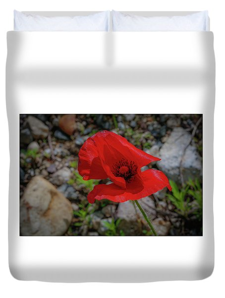 Duvet Cover featuring the photograph Lone Red Flower by Lora J Wilson
