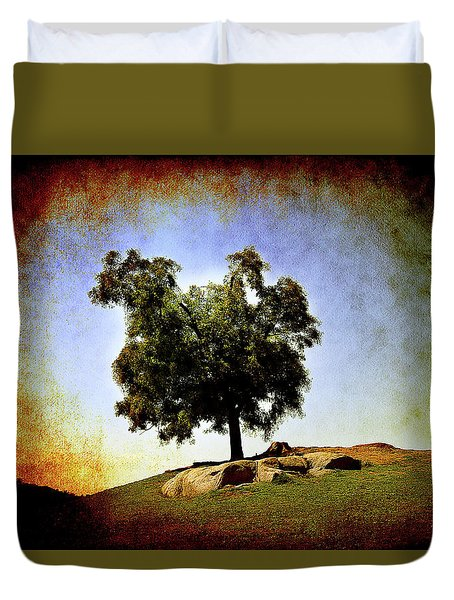 Duvet Cover featuring the photograph Lone Tree On The Hill by Milena Ilieva