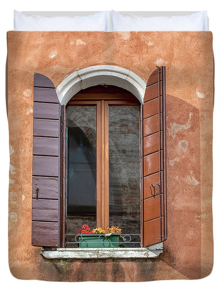 Lone Window Of Venice Duvet Cover