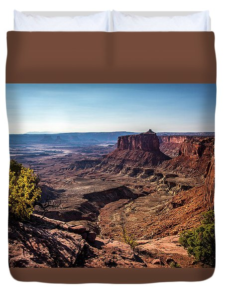 Duvet Cover featuring the photograph Lonely Butte by David Morefield