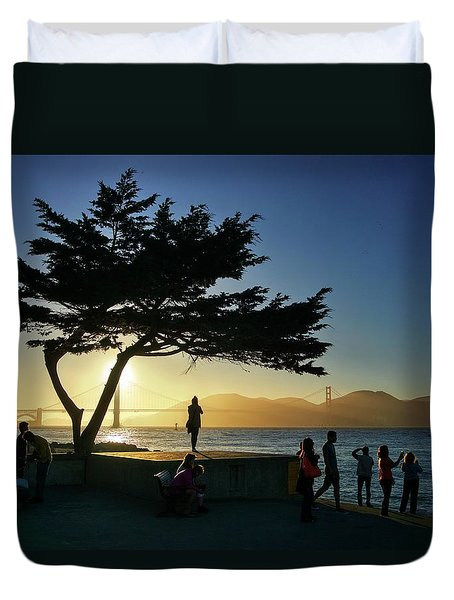 Duvet Cover featuring the photograph Lonely Tree At Crissy Field by Quality HDR Photography