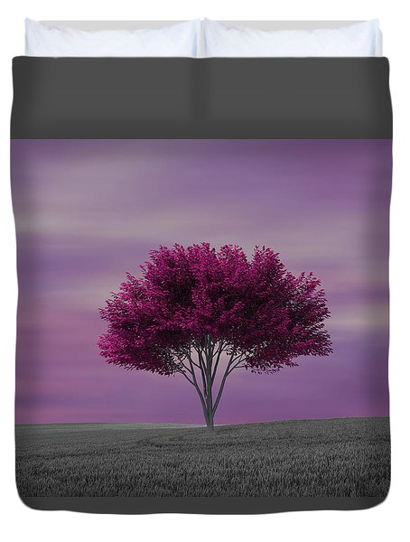 Lonely Tree At Purple Sunset Duvet Cover