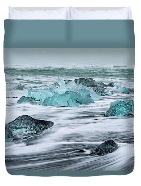 Long Exposure At The Jokulsarlon Ice Beach Duvet Cover
