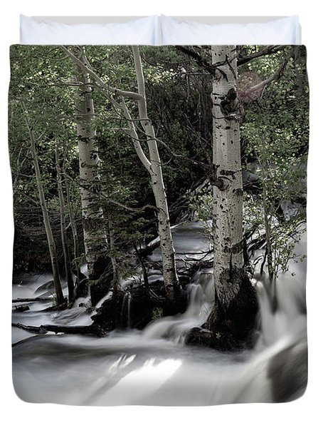 Long Exposure Shot Of A Mountain Stream Duvet Cover
