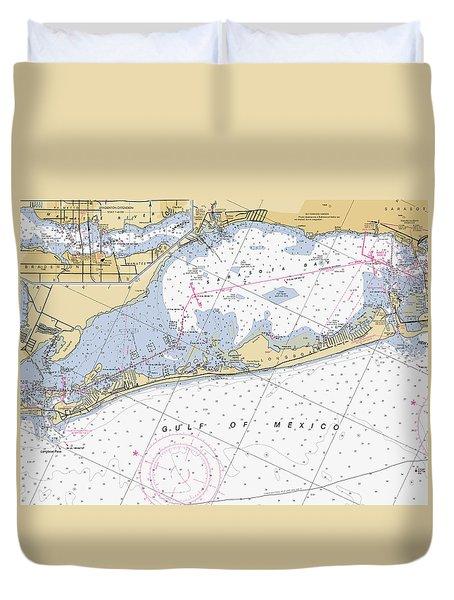 Longboat Ket Florida Noaa Nautical Chart Duvet Cover