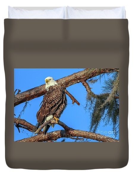 Duvet Cover featuring the photograph Lookout Eagle by Tom Claud
