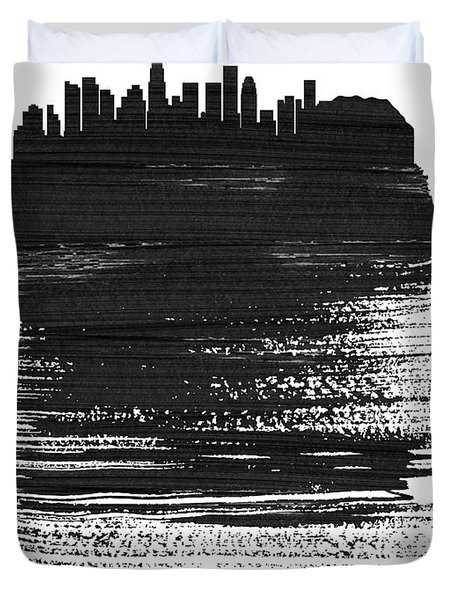 Los Angeles Skyline Brush Stroke Black Duvet Cover