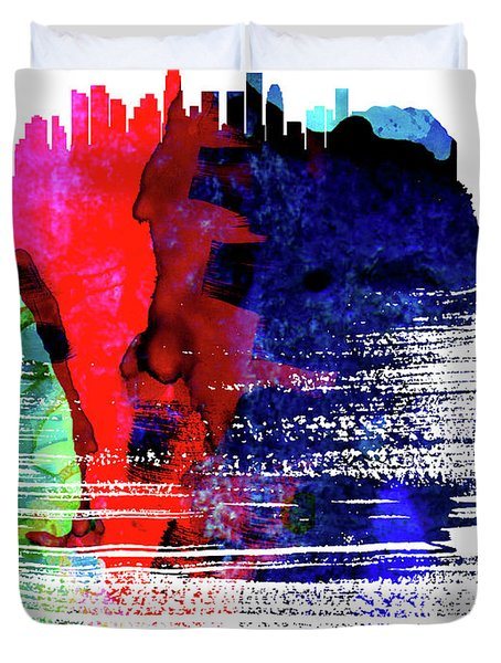 Los Angeles Skyline Brush Stroke Watercolor   Duvet Cover