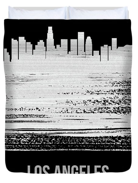 Los Angeles Skyline Brush Stroke White Duvet Cover