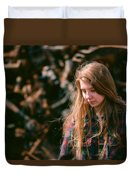 Duvet Cover featuring the photograph Lost In The Metal by Carl Young