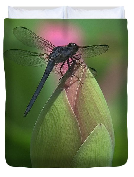 Duvet Cover featuring the photograph Lotus Bud And Slaty Skimmer Dragonfly Dl0006 by Gerry Gantt