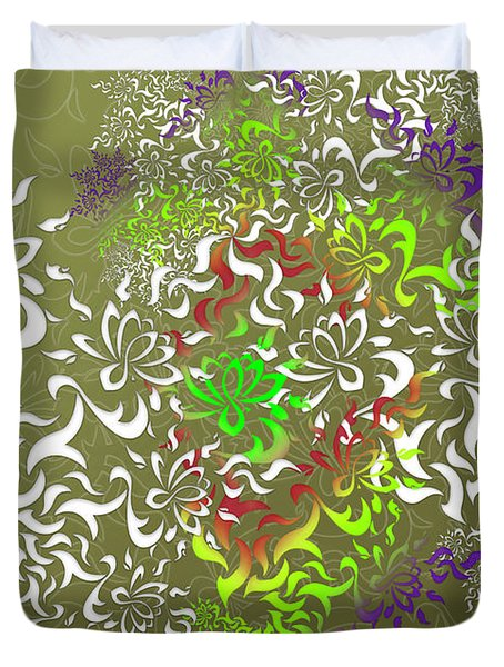 Duvet Cover featuring the digital art Lotus Remix by Vitaly Mishurovsky