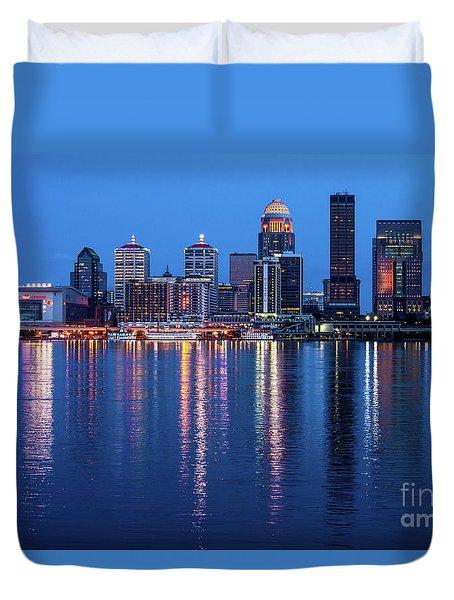 Louisville Kentucky Skyline After Sunset - Ohio River Duvet Cover