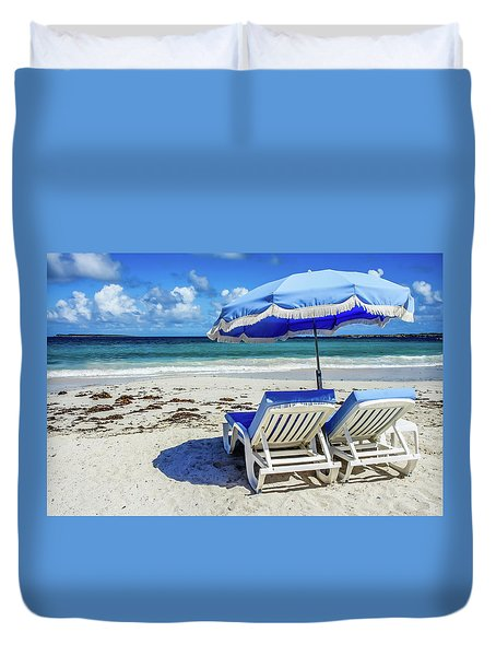 Duvet Cover featuring the photograph Lounging On Orient Beach, St. Martin by Dawn Richards