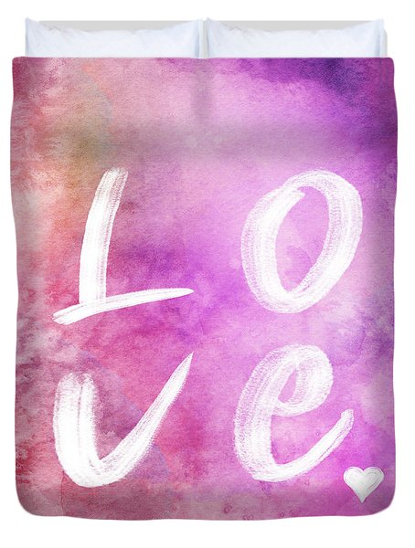 Love Watercolor In A Pink Square Duvet Cover