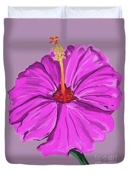 Lovely Pink Hibiscus Duvet Cover